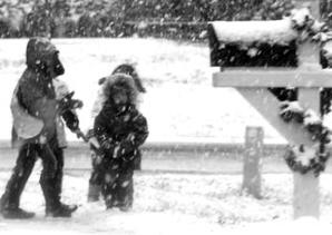 Kids walk snow
